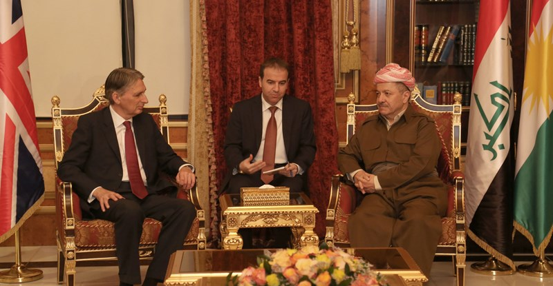 President Barzani Welcomes UK Foreign Secretary Philip Hammond