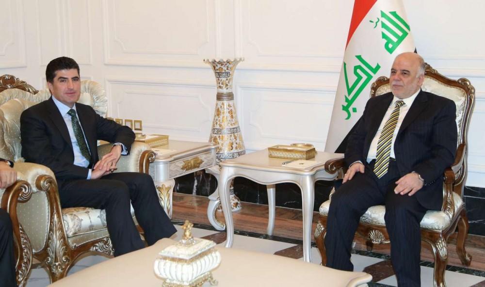 PM Barzani and Iraq's PM Dr. al-Abadi meet in Baghdad