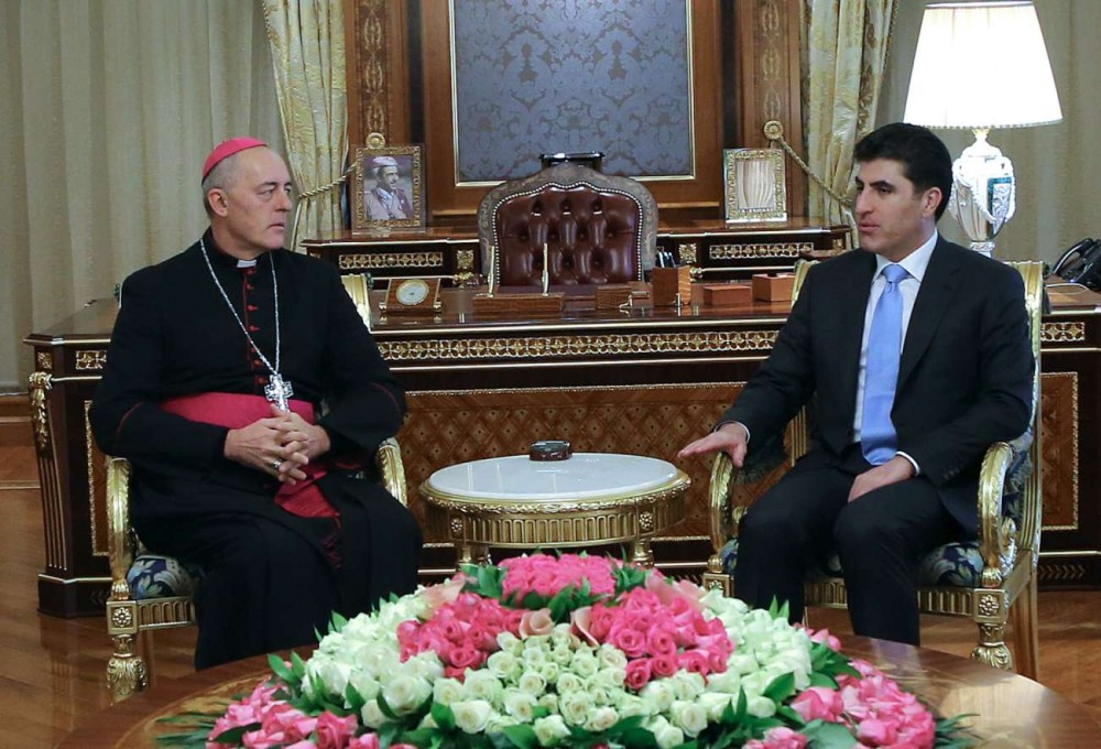 PM Barzani meets Pope's envoy to Iraq