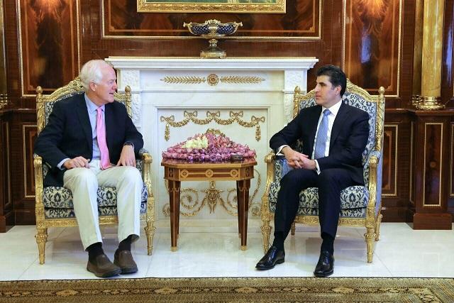 Prime Minister Barzani, US Senator discuss the anticipated liberation of Mosul