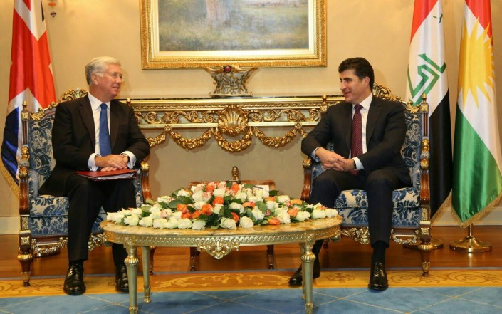 Prime Minister Barzani and UK Defence Secretary discuss liberation of Mosul