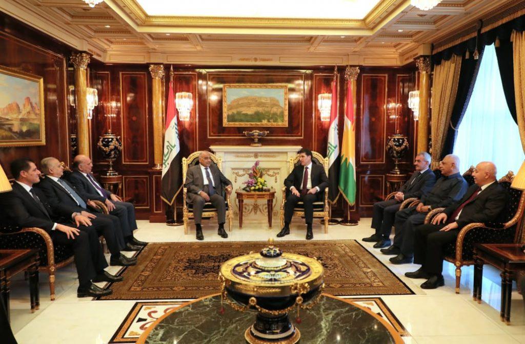 President Nechirvan Barzani meets with Iraqi Prime Minister Adil Abdulmahdi