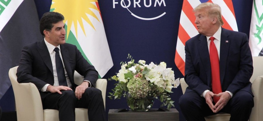 (English) President Nechirvan Barzani and U.S. President Donald Trump discuss developments in Iraq and the region