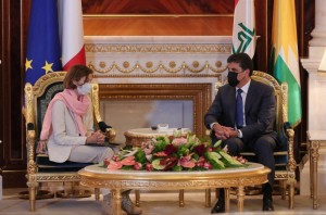 President Nechirvan Barzani receives France's Minister of the Armed Forces Florence Parly